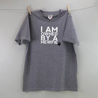 Personalised Owned By A Dog T Shirt, Blue/Red/Charcoal