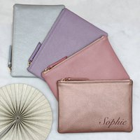Personalised Luxury Pastel Leather Name Clutch Bag, Rose Gold/Rose/Gold