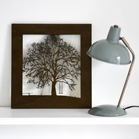 Woodcut Tree With Swing Artwork, Rosewood/Red/Mahogany