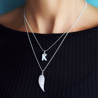 Layered Angel Wing Necklace Set, Silver/Gold/Rose Gold