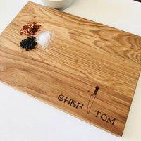 Chef Knife Personalised Oak Wood Cutting Board