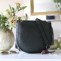 Leather Cross Body Shoulder Bag With Tassel, Green