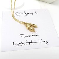 Gold Family Peapod Necklace, Gold