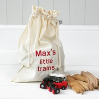 Personalised 'Little Trains' Travel Sack, Black/Dark Brown/Brown