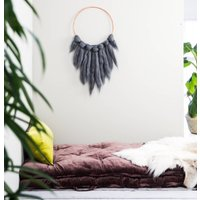 Grey Wool Wall Hanging On A Copper Hoop