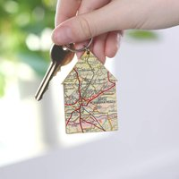Personalised Map Location House Keyring