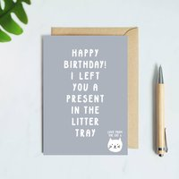 A Present In The Litter Tray Cat Birthday Card