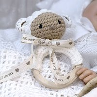 Personalised Babys First Tiny Lamb Rattle