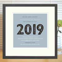 Personalised Graduation Or Exam Success Print + Mount, Silver/Grey/Slate Blue