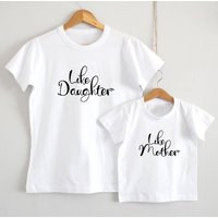 'Like Mother, Like Daughter' T Shirt Set, White/Black/Red