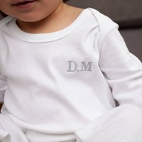 Embroidered Initials Organic Cotton Baby Grow Gift