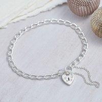Sterling Silver Padlock Charm Bracelet, Silver