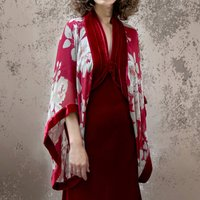 Red Rosegarden Print Silk Georgette Shrug
