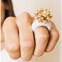 White And Gold Pineapple Ring, Gold