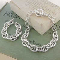 Chunky Interlinking Oval Sterling Silver Jewellery Set, Silver