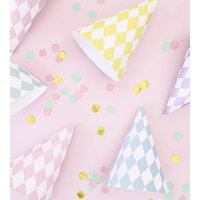 Pastel Harlequin Print Party Hats