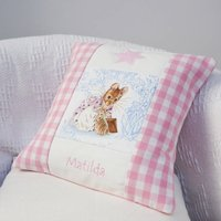 Beatrix Potter Name Cushion, Pink/Blue