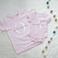 Rose Gold And Pink Personalised Girls T Shirt Set