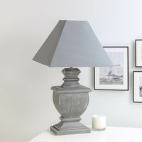 Grey Distressed Wooden Table Lamp