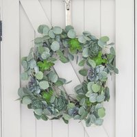 Succulent And Eucalyptus Wreath