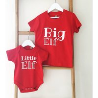 'Big Elf, Little Elf' Matching Top Set