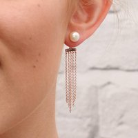 18ct Rose Gold Chain And Modern Pearl Earrings, Gold
