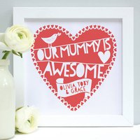 Personalised Our Mummy Is...Framed Print, Red/Pink/Coral