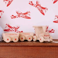 Personalised 1st Christmas Wooden Train Set