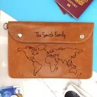 World Map Personalised Leather Family Travel Wallet, Tan/Apple Green/Green