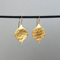 Large Leaf Earrings In Gold, Gold