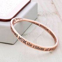 Mum Message Bangle Rose Gold, Gold