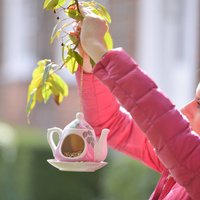 Ceramic Hanging Tea Pot Bird Feeder