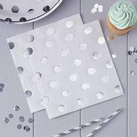 White And Silver Foiled Polka Dot Paper Napkins