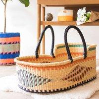 Winneba: Black, Orange And Turquoise Woven Moses Basket