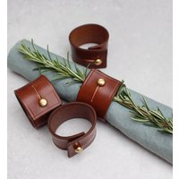 Set Of Six Brown Leather Napkin Rings