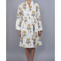 Raj Flower Design Block Print Wrap Bathrobe In Yellow