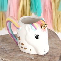 Unicorn Tail Handle Mug With Star Spoon Gift