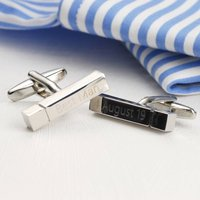 Personalised Engraved Silver Bar Cufflinks, Silver