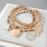 Adore Silver And Rose Gold Bracelet Stack, Silver