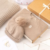Luxury Fudge Bobble Hat And Cardigan Baby Gift Box