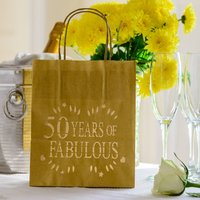 50 Years Of Fabulous Birthday Party Lantern Bag, Cream/Gold/White