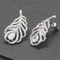 Peacock Feather Crystal Earrings