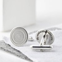 Personalised Engraved Round Sterling Silver Cufflinks, Silver