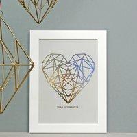 Personalised Metallic Geometric Heart Print