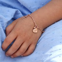 Personalised Rose Gold And Heart Charm Bracelet, Gold