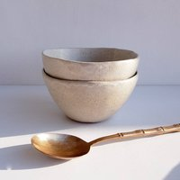 Handmade Oatmeal Satin Pottery Cereal Bowl