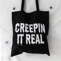 Creepin It Real Halloween Tote Bag