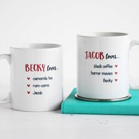 Couple Loves, Set Of Two Personalised Valentine's Mugs