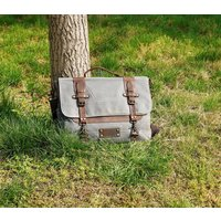 Waxed Canvas Messenger Bag, Brown/Grey/Teal