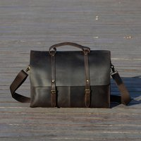 Vintage Look Leather Laptop Shoulder Bag
